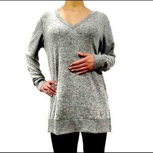 Lucky Brand heathered gray V-neck tunic size medium